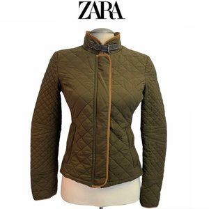 Zara olive green quilted riding jacket size small
